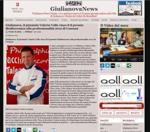 Giulianova, il pizzaiolo Valerio Valle vince il premio Mediterraneo alla professionnalità 2012 di Co