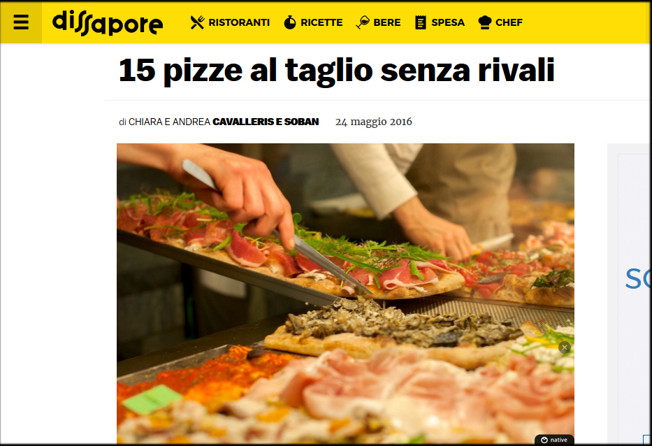 La pizzeria Fratelli Valle tra le migliori 15 Pizzerie al Taglio d' Italia , secondo DISSAPORE